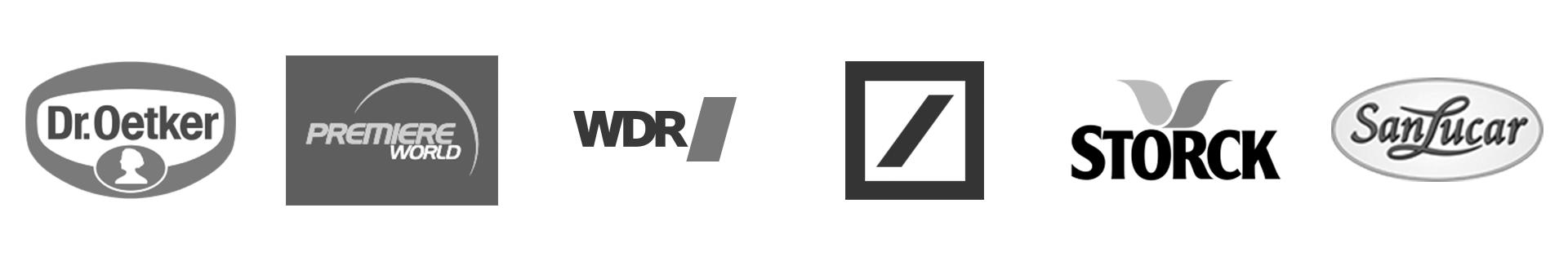 Dr. Oetker, Premiere World, WDR, Deutsche Bank, Storck, San Lucar
